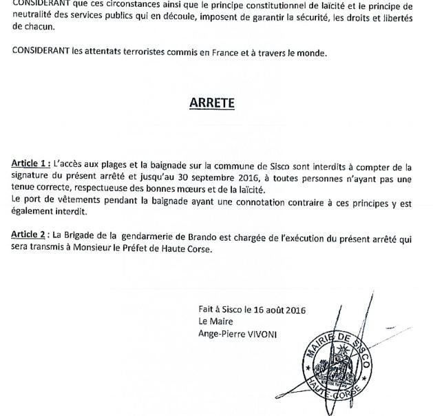 Sisco : Le maire a déposé son arrêté à la préfecture de Haute-Corse