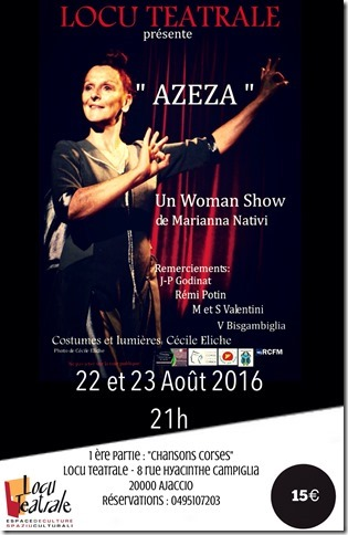One Woman Show « Azeza » de  Marianna Nativià Locu Teatrale