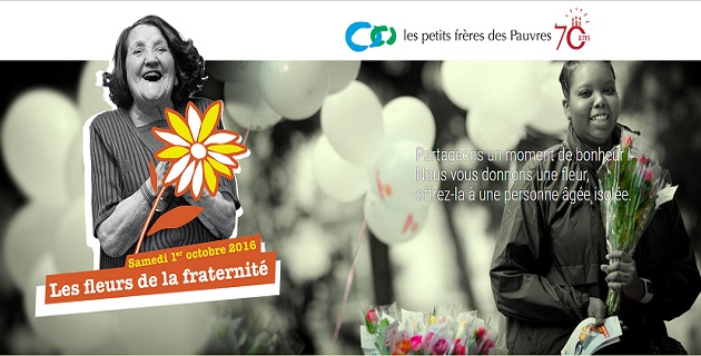 """Les Petits Frères des Pauvres: une fleur et un """"Défi Selfie"""" en faveur des personnes âgées."""