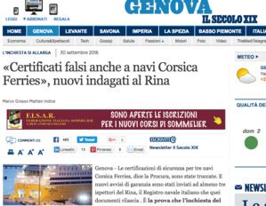 Des inspecteurs du Rina suspectés d'avoir établi de faux certificats de sécurité pour trois navires de Corsica Ferries