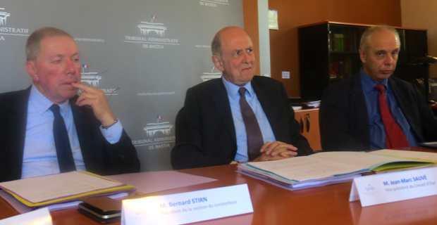 Jean Marc Sauvé, vice-président du Conseil d'Etat, entouré de Bernard Stirn, président de la section contentieux, et Jean-Paul Wyss, président du tribunal administratif de Bastia.