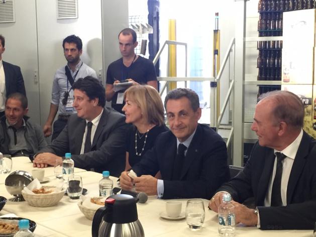 Nicolas Sarkozy entouré de Stéphanie Grimaldi et Sauveur Gandolfi-Scheit