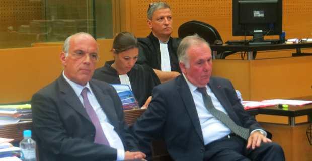 Jean-Pierre de Rocca Serra, ex-DGS du département de Corse du Sud, et Jean Jacques Panunzi, ex président et actuel sénateur. En arrière plan, Me Cynthia Costa-Sigrist.