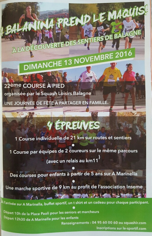 Tout savoir sur la course à pied A Balanina qui se déroulera le 13 novembre