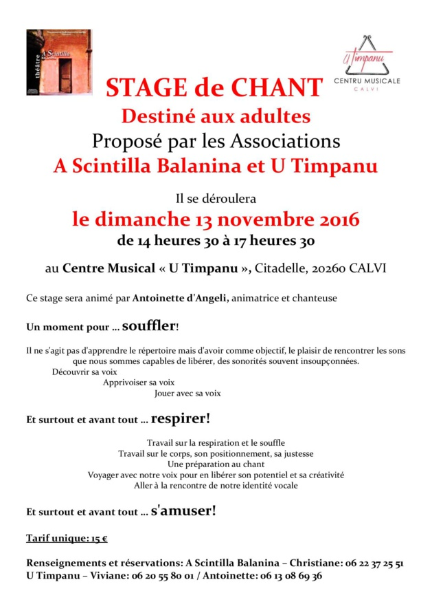A Calvi stage de chant destiné aux adultes