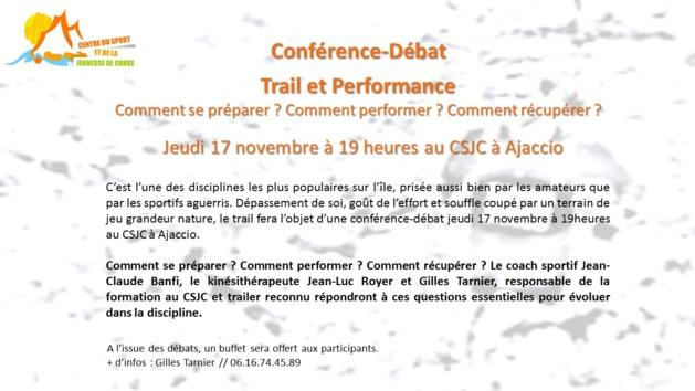 """Conférence Débat """"Trail et Performance"""" Jeudi 17 novembre au CSJC"""