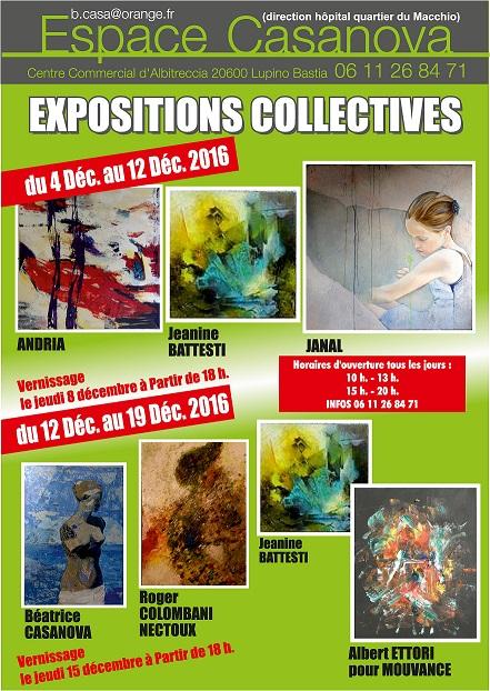 Expositions collectives à l'Espace Casanova de Lupino du 4 Décembre au 19 Décembre 2016