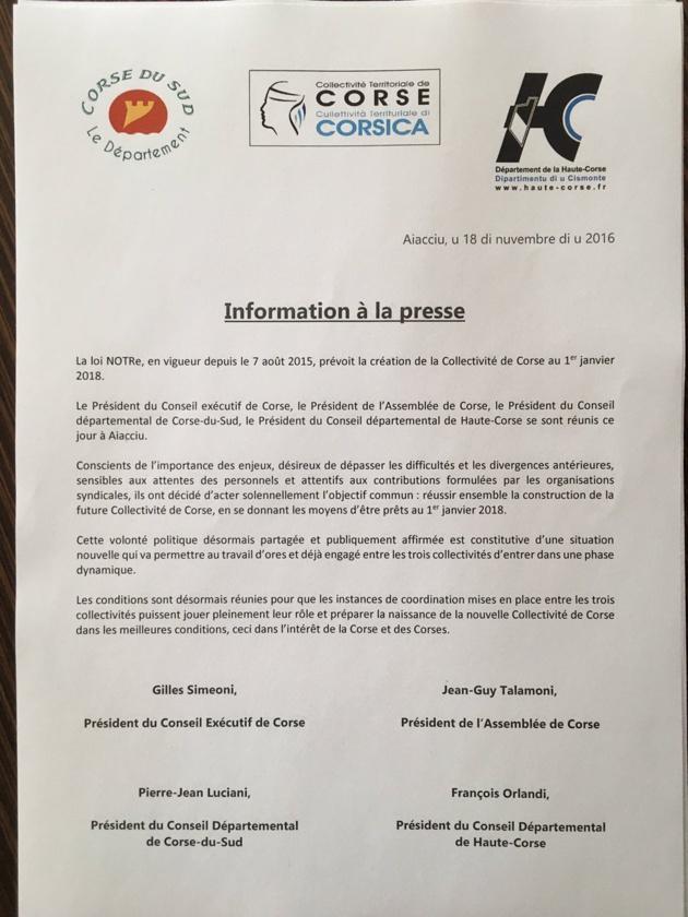 Collectivité unique de Corse : Accord unanime
