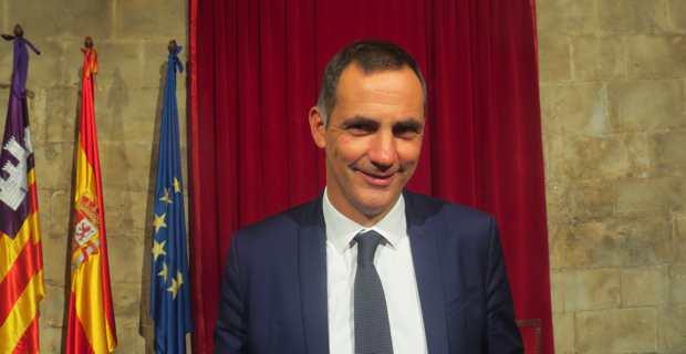 Gilles Simeoni, président du Conseil Exécutif de la Collectivité territoriale de Corse (CTC), en visite officielle à Palma de Majorque, siège du gouvernement des Baléares.