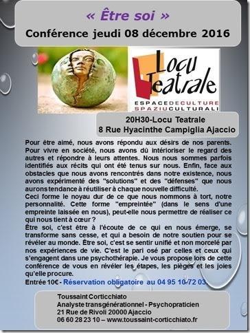 """Nouvelle conférence de Toussaint Corticchiato""""Être soi"""""""