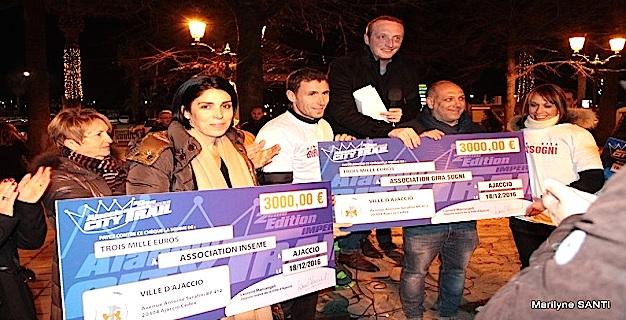 Laurent Marcangeli et Stéphane Vannucci ont remis 3 chèques de 3 000 euros chacun aux associations Inseme, Gira Sogni et Sogni Zitellini.