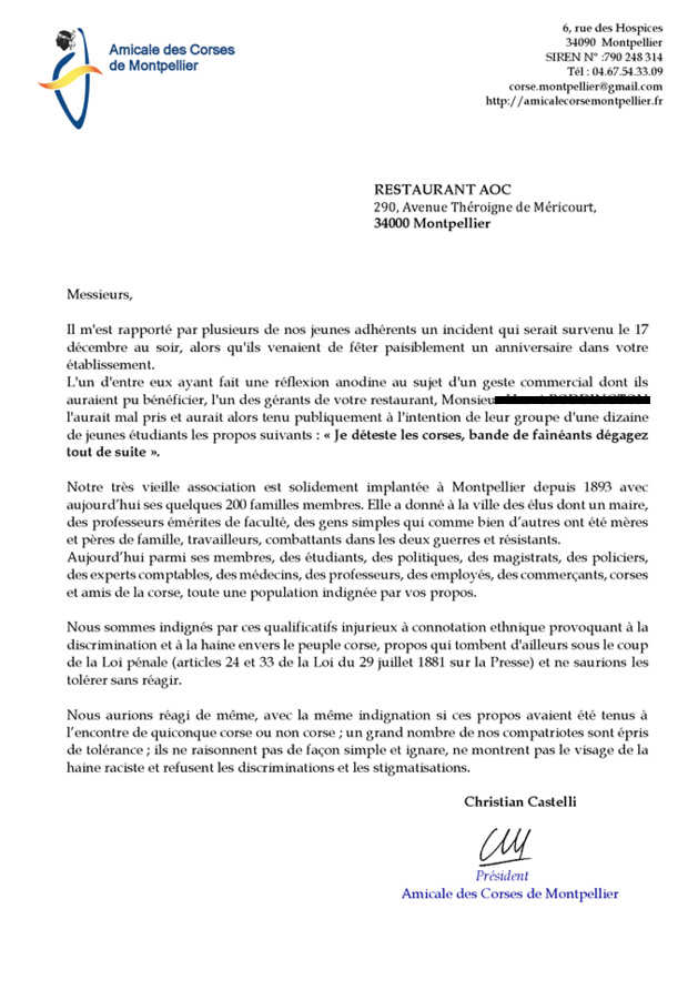 """Montpellier : """"Je déteste les Corses. Bandes de fainéants, dégagez tout de suite !"""""""