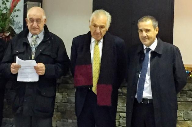 J.-T. Morganti, maire d'Ogliastru, Sixte Ugolini et Jean-Guy Talamoni