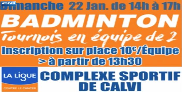 Complexe sportif Calvi-Balagne: Un tournoi de badminton au profit de la Ligue contre le cancer