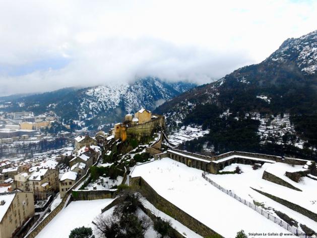Neige : Le Centre-Corse vu du ciel