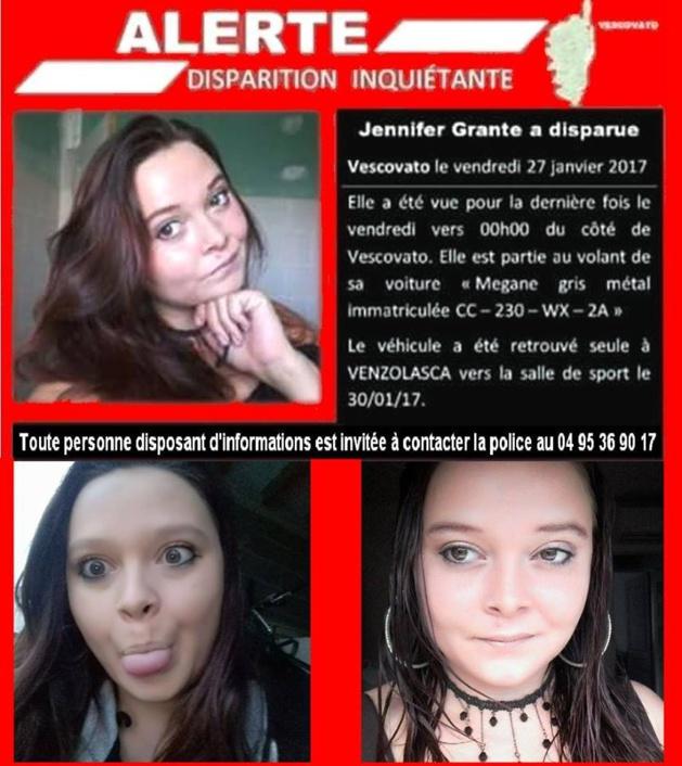 U Viscuvatu : Toujours pas de nouvelles de Jennifer Grante disparue depuis plus d'une d'une semaine