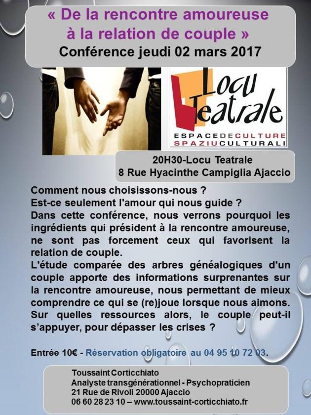 Locu Teatrale : « De la rencontre  amoureuse  à la relation de couple »  de  Toussaint Corticchiato