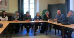 Sandrine Marfisi, Fabienne Maestracci, Louis Cesari et René Colombani, membres du syndicat Oliu di Corsica et du SIDOC, et les jeunes agriculteurs de Corse du Sud.
