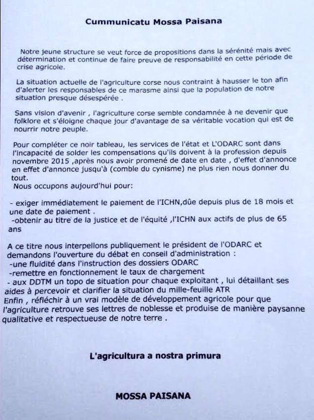 Mossa Paisana ; Occupation symbolique des locaux de l'Odarc à Ajaccio