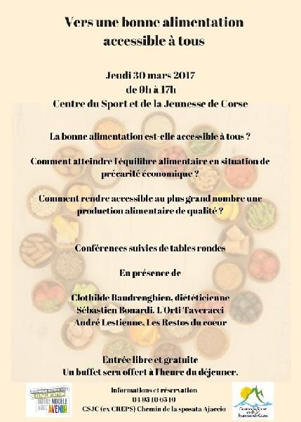 """Les conférences du CSJC : """"Vers une bonne alimentation accessible à tous"""""""