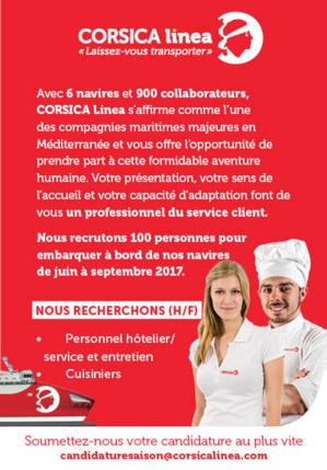 Corsica Linea recrute 100 personnes de Juin à Septembre