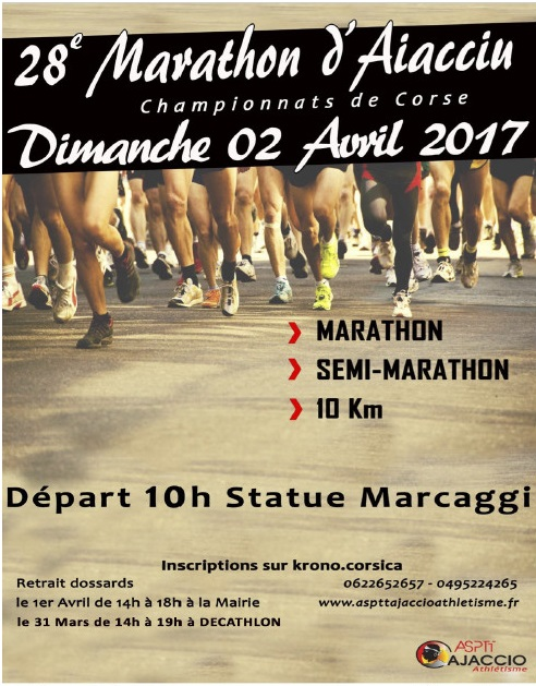Dimanche,  28ème marathon d'Aiacciu