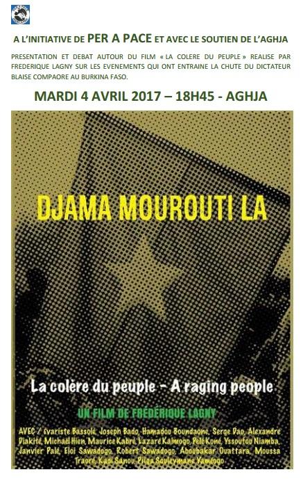 Film Débat BURKINA FASO mardi 4 avril, 18h45 à l'AGHJA à l'initiative de Per a Pace