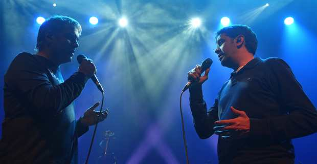 Les frères Andreani, Jean-Michel et Fabrice, lors des répétitions au théâtre de Bastia. Photo Christian Andreani.