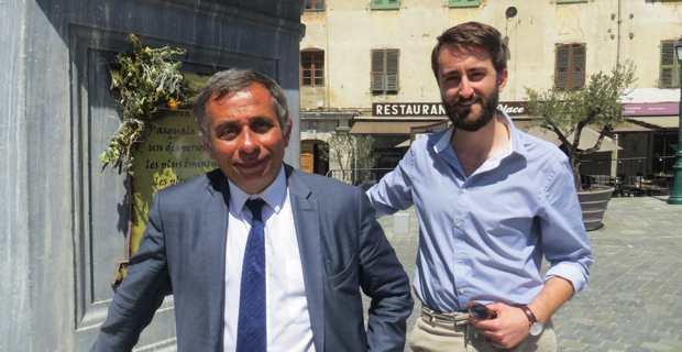 Henri Malosse, ex-président du Comité économique et social européen, et son suppléant, Marc-Antoine Campana, président du tout nouveau mouvement Pudemu, candidats aux élections législatives de juin prochain dans la 2ème circonscription de Haute-Corse.