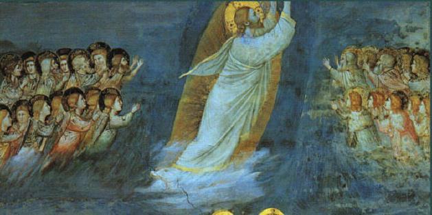 (L'Ascension, Giotto,1304-06, fesque chapelle Scrovegni,Padoue)