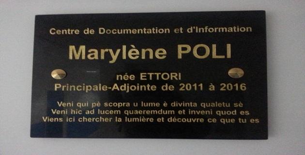 Hommage à Marylène Poli principale adjointe du collège Laetitia Bonaparte
