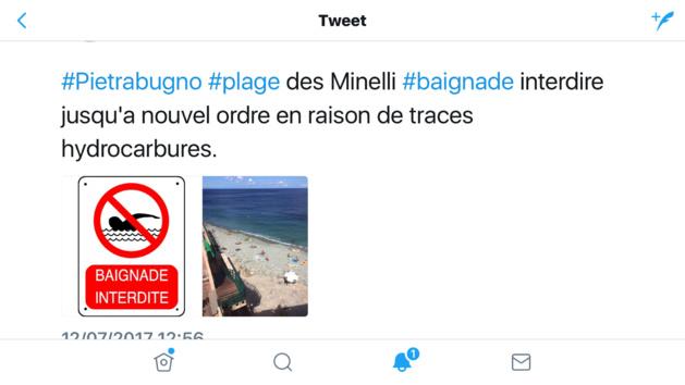 Traces d'hydrocarbures sur la plage de Minelli