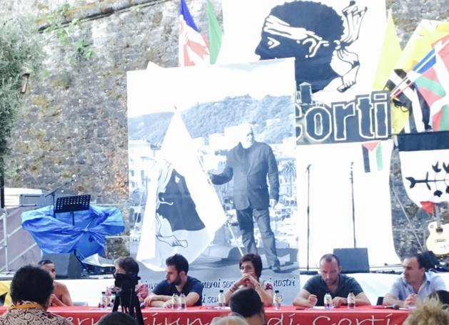 Affiche à l'effigie de Jean-Marie Poli, lors des Ghjurnate Internaziunale 2017 à Corte.