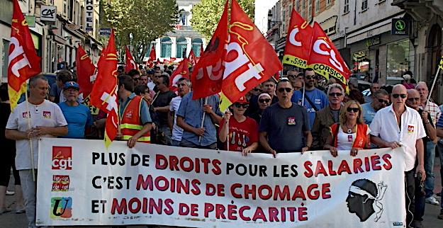 Bastia : Manifestation de la CGT contre les ordonnances Macron