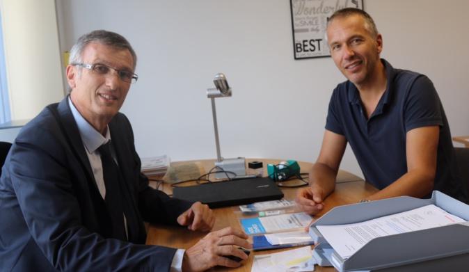 Les  Dr C.Filippi et F. Le Duff  dans les bureaux des URPS Pharmaciens Corse