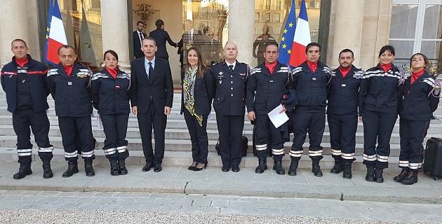 La délégation du Sdis de Corse-du-Sud à l'Elysée