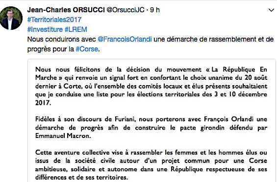 """Jean-Charles Orsucci : """"La décision de """"La République En Marche"""" renvoie un signal fort"""""""
