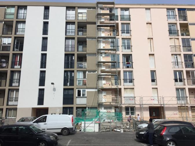 Une façade pendant les travaux
