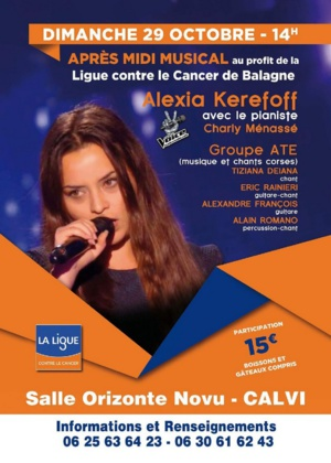 Alexia Kerefoff en concert à Calvi pour la Ligue contre le cancer