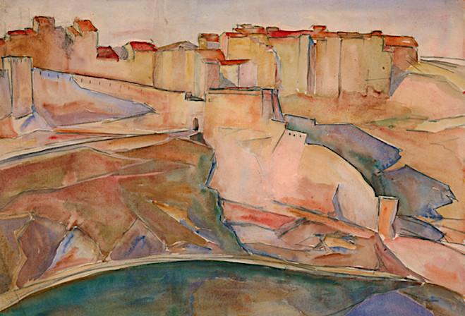 : Du haut des falaises, Lydia Nicanorova , aquarelle sur Papier, 37,5 x 50,5 cm, exposée en 1930 Galerie René Zivy