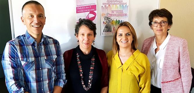 De gauche à droite : Dr Franck Le Duff (directeur de l'Arcodeca), Anne Marchand (assistante de direction de URPS Infirmiers de Corse), Sandra Vinciguerra (vice-présidente de l'URPS Infirmier-Corse) et Marie-Claude Milhau (présidente de l'URPS Infirmier-Corse)