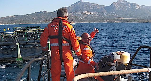Exercice de la SNSM dans la baie de Calvi