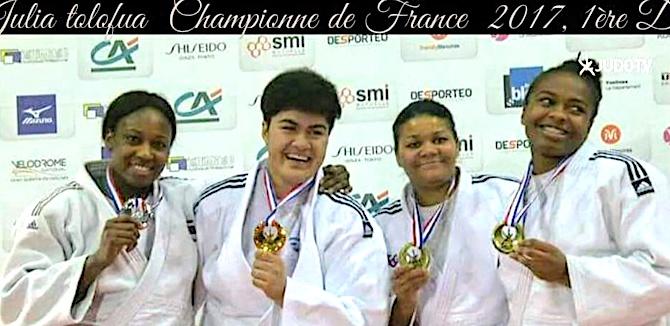 Julia Tolofua (2eme à partir de la gauche) : Championne de France ! (Photos TV judo)