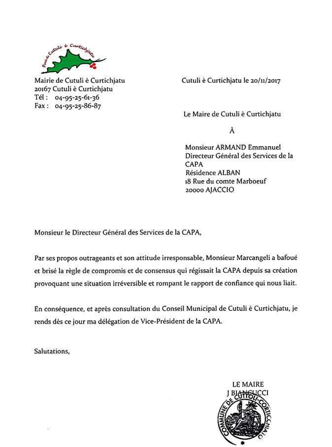 Capa : Jean Biancucci  rend sa délégation de vice-président