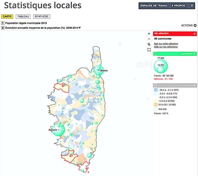 Les départements de Corse  comptent désormais 327 283 habitants