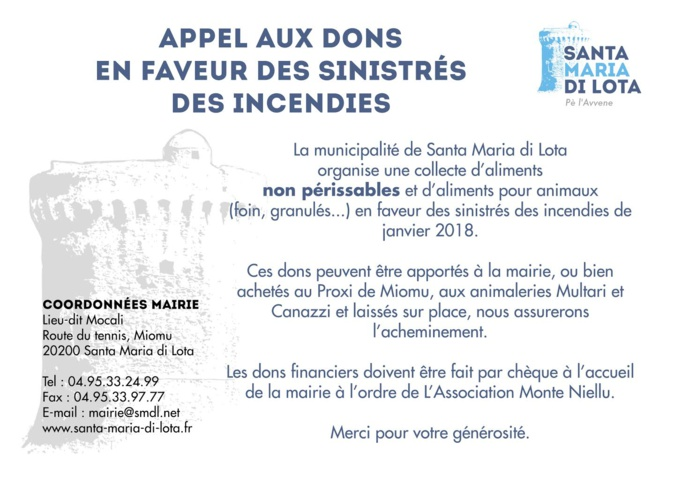 Santa Maria di Lota : Collecte de dons en faveur des sinistrés des incendies