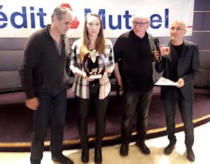 Jean Pruneta (à droite) a notamment récompensé Alexandra Feracci (Karaté / doublé coupe/championnat en Kata)