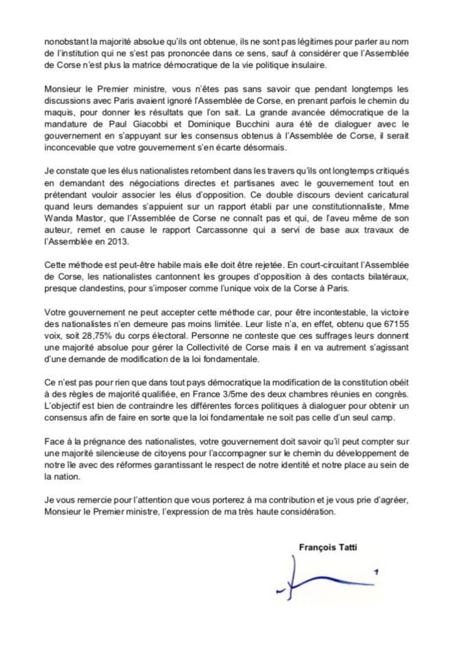 Evolution constitutionelle : François Tatti écrit au Premier ministre