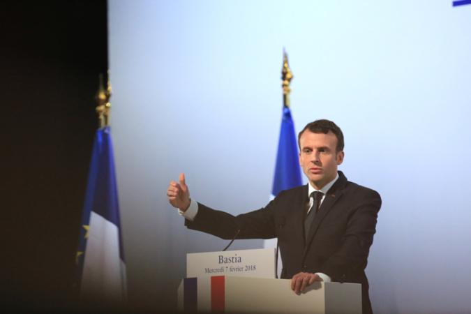 Le président de la République, Emmanuel Macron, lors de son discours au centre culturel Alb'Oru à Bastia. (C. Buffa Pool photos)