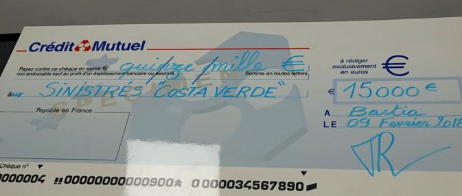 Crédit Mutuel de la Corse : 15 000€ pour les sinistrés de Costa Verde